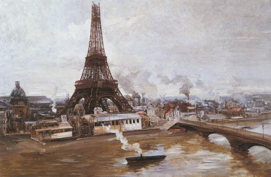 La tour Eiffel et le Champ-de-Mars en janvier 1889 (Paul Delance, musée Carnavalet, Paris)