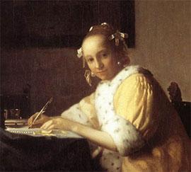 Johannes Vermeer, Jeune Femme écrivant une lettre, vers 1665-1666, National Gallery of Art, Washington D.C.