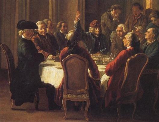 Le dîner des philosophes à Ferney (Condorcet à gauche, Voltaire au centre, Diderot à droite) (Jean Huber, 1772,  Voltaire Foundation, Oxford)