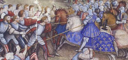 13 septembre 1515: à Marignan, François 1er et la noblesse française, assistés de mercenaires gascons et allemands, vainquent les mercenaires suisses du duc de Milan<br />Bataille la plus meurtrière depuis l'Antiquité...<br /><br />  En savoir plus : <br /> cliquez sur l'image
