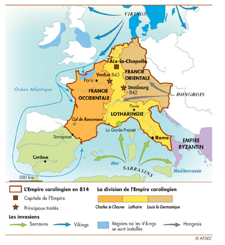 Division de l'empire carolingien après la mort de Charlemagne (814)
