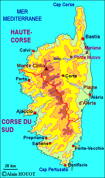 La Corse (document : Alain Houot, pour Herodote.net)