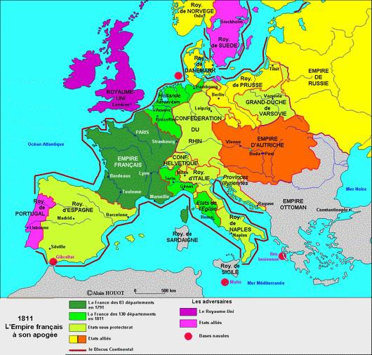 carte europe napoleonienne 1811