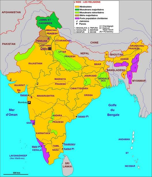 Inde : États, langues et religions