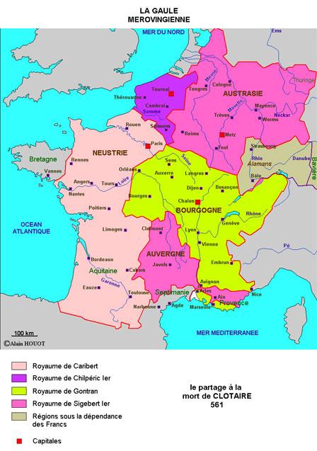 Le royaume des Francs à la mort de Clotaire
