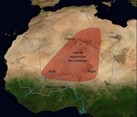 Territoire de nomadisme des Touaregs (carte : Vincent Boqueho, pour Herodote.net)