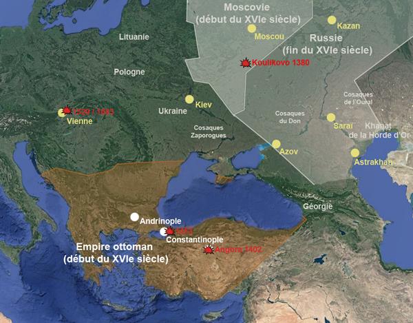 Les empires russe et ottoman au XVIe siècle (carte : Herodote.net)