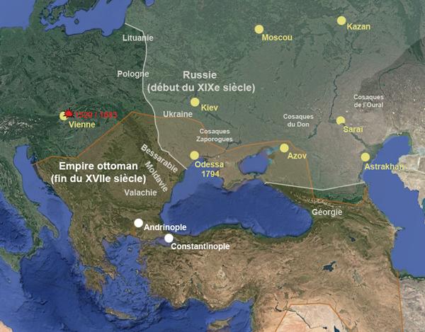 Les empires russe et ottoman au XVIIIe siècle (carte : Herodote.net)