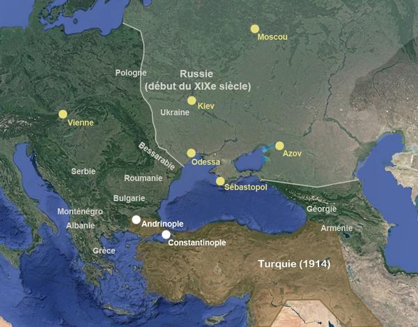 Les empires russe et ottoman au XIXe siècle (carte : Herodote.net)