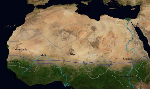 Afrique subsaharienne : limite de l'isohuète 400 mm  (carte : Vincent Boqueho, pour Herodote.net)