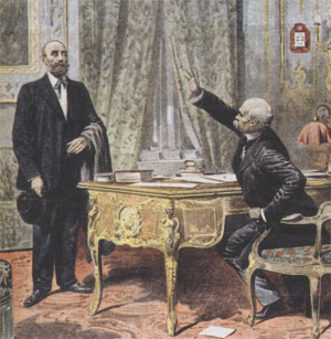 Marcelin Albert face à Georges Clemenceau (gravure d'époque)