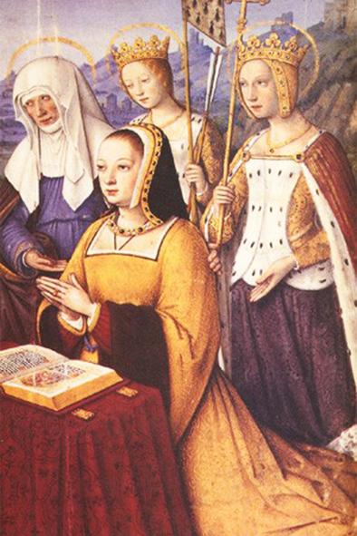 Anne de Bretagne (portrait extrait de ses Grandes Heures, livre de prière, par Jean Bourdichon, vers 1500-1508)
