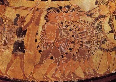 Phalange athénienne et hoplites (vase du VIIe siècle de la Villa Giulia, Rome)