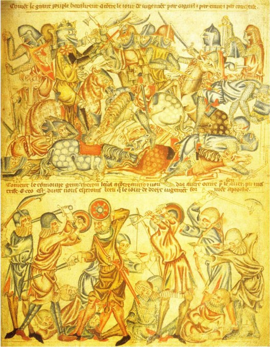 The Battle of Bannockburn (June 24, 1314), miniature in the Holkham Bible (1327-1335)