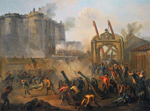Prise de la Bastille (détail), peinture de Jean-Baptiste Lallemand vers 1790 (musée Carnavalet, Paris)
