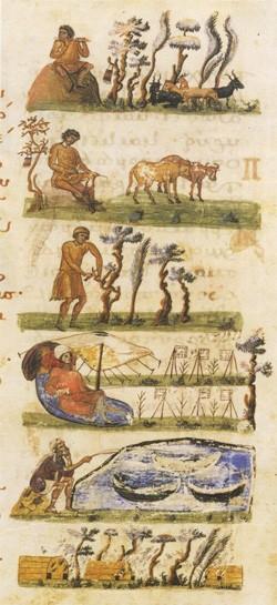 Les activités printanières à la campagne (manuscrit byzantin: Homélies de Grégoire de Nazianze, XIe siècle, BNF)