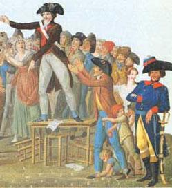 Motion au jardin du Palais-Royal, gouache de Lesueur (Paris, musée Carnavalet)