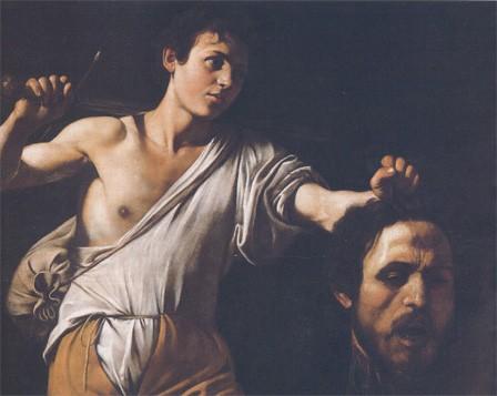 David tenant la tête de Goliath, par Caravage (1606, huile sur bois, musée historique, Vienne)