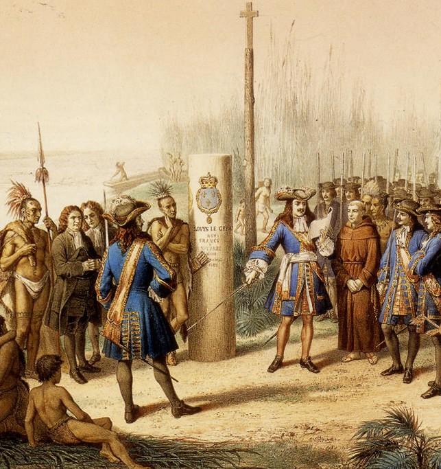 Prise de Possession de la Louisiane et du Fleuve Mississipi au Nom de Louis XIV, par Cavelier de la Salle, le 9 Avril 1682 (lithographie par Bocquin, BNF)