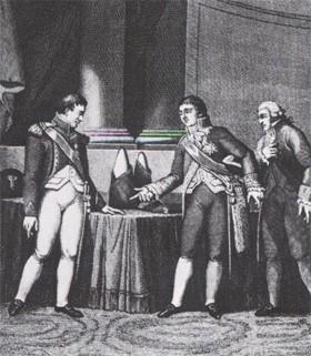 Benjamin Delessert et Napoléon 1er (gravure d'époque)