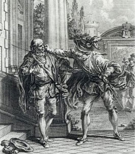 Don Diègue et le comte – Illustration d'Hubert Gravelot, 1762