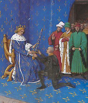 Remise de l'épée de connétable à Du Guesclin, enluminure de Jean Fouquet (BNF)