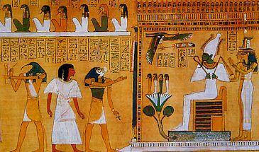 Un défunt devant Osiris (Le Livre des Morts, 1400 avant JC, British Museum)