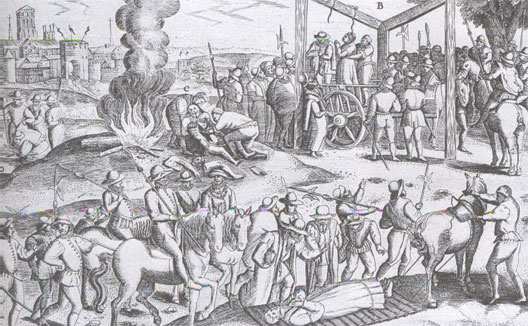 Persecution of the Catholics in sixteenth century England (engraving)
