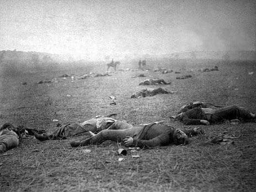 Confédérés sur le champ de bataille de Gettysburg