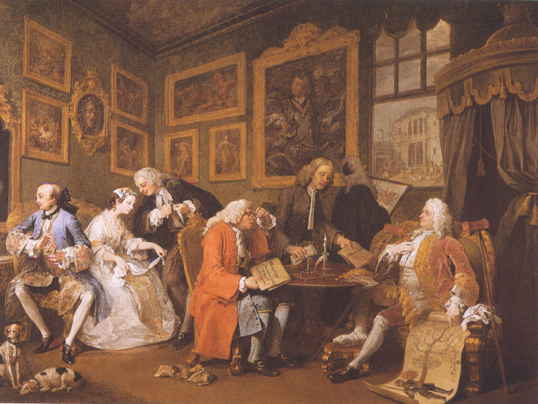 Le contrat de mariage (William Hogarth, 1743, National Gallery, Londres)