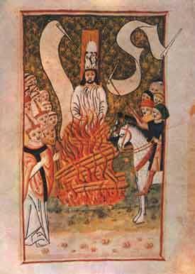 Jan Hus sur le bûcher (d'après le Jena Codex, manuscrit de la fin du XVe siècle, Prague)