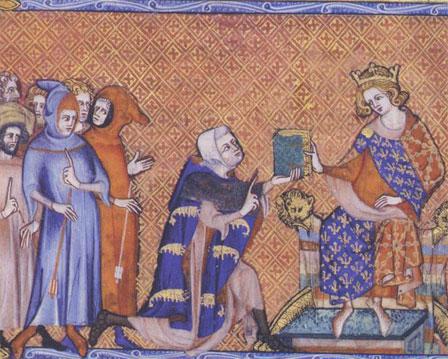 Joinville à genoux remet son manuscrit à Louis de Navarre, fils de Philippe le Bel (miniature de 1330, BNF)