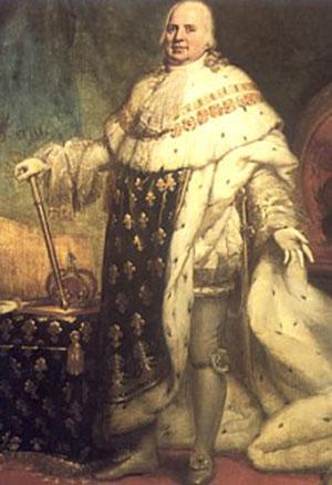 le roi Louis XVIII le Désiré en majesté