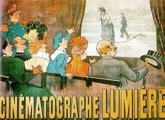 Affiche de l'une des premières séances publiques de cinéma, en 1896