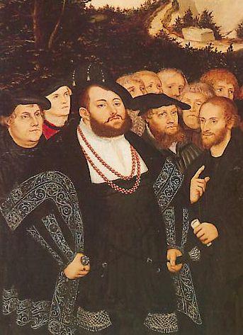 Albert le Magnanime entre MartinLuther et Philippe Melanchton, par Lucas Cranach l'Ancien