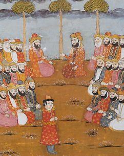 Mahomet à Médine, d'après une miniature persane, vers 1030 (BN)