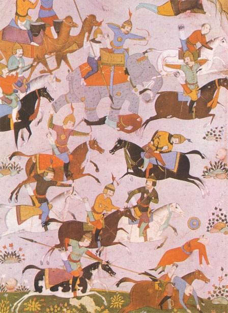 Combat entre les Byzantins de l'empereur Maurice et les Persans de l'usurpateur Bahram Chobin en 591 (d'après une miniature persane de la BNF)