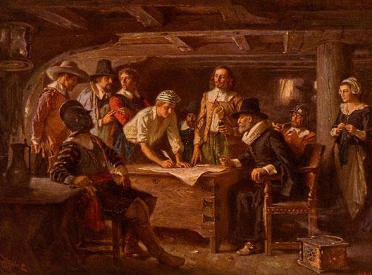 La signature du pacte du Mayflower (Mayflower Compact, novembre 1621), par Jean Leon Gerome Ferris (1863)