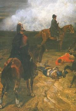 Napoléon inspecte la plaine de Waterloo la veille de la bataille (détail), par Brown (musée de Bordeaux)