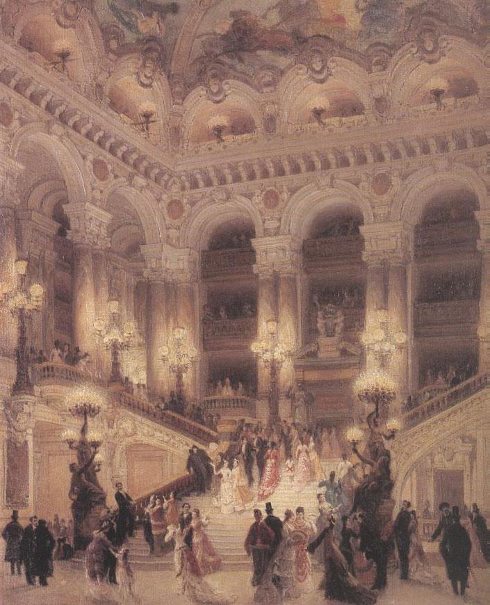 Le Grand escalier de l'Opéra (Louis Béroud, 1877, musée Carnavalet, Paris)