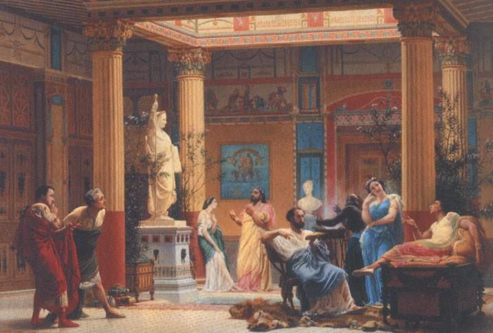 La répétition du Joueur de flûte dans la Maison pompéienne du prince Napoléon (Gustave Boulanger, 1860)