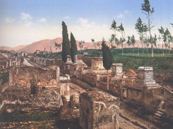 La rue des tombeaux, à Pompéi (photochrome, 1890)