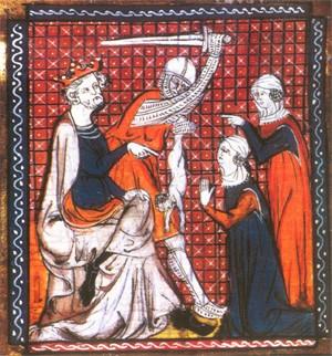 Le jugement de Salomon (enluminure du XIVe siècle, bibliothèque de Troyes)