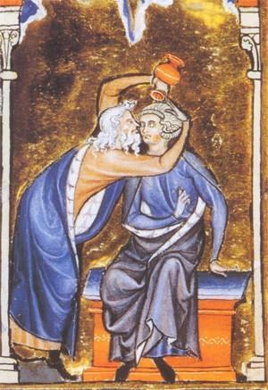 Saül élit David à la royauté(enluminure du XIIIe siècle)