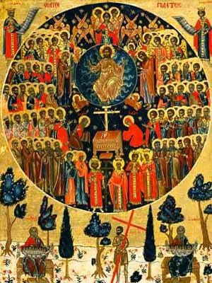 Le Christ entouré des saints (icône byzantine)