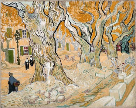 Les paveurs (boulevard de Saint-Rémy) (Vincent Van Gogh, 1889, Huile sur toile, 73,7x92,8cm, Washington, Phillips Collection)