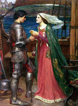 John william waterhouse tristan and isolde sharing the - Tristan le chevalier de la table ronde ...
