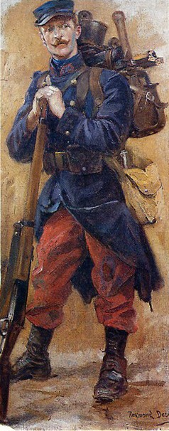 Le fantassin français de 1914 (peinture de Desvarreux, musée de l'Armée, Paris)