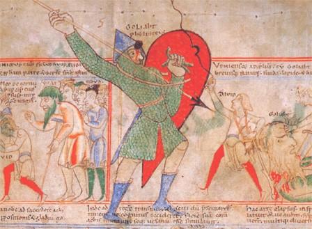 Goliath et David (enluminure du XIIe siècle)