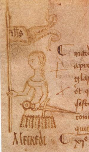 Jeanne d'Arc à l'étendard, croquis réalisé du vivant de l'héroïne, par Clément de Fauquembergue (musée Jeanne d'Arc, Rouen)